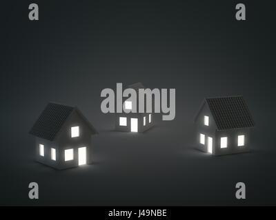 Drei kleine Musterhäuser - Immobilien-Konzept 3d illustration Stockbild