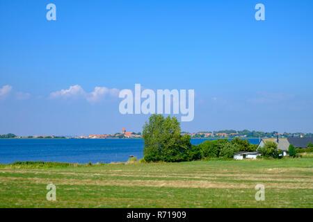Blick über Stege noch See der Stadt Stege, dem Hauptort auf der Insel Moen in Dänemark. Stockbild