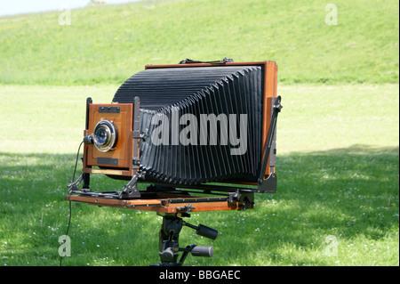 Großformat-Falt-Kamera Stockbild