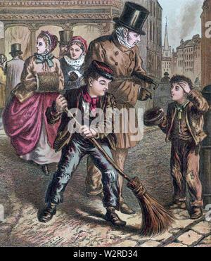 Viktorianische KREUZUNG KEHRMASCHINEN um 1850. Man fegt, während andere sammelt ein Handout. Stockbild