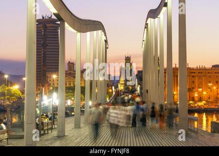 Rambla de Mar, Fußgängerbrücke, Port Vell, Barcelona, Spanien Stockbild