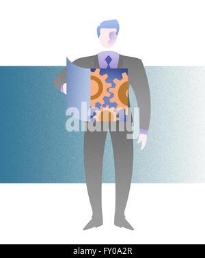 Illustration der Betriebskartei Geschäftsmann auf dem Getriebe gezogen werden Stockbild