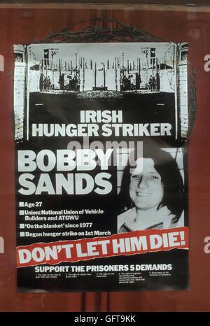 Bobby Sands Plakat Hungerstreik der 1980er Jahre Belfast Nordirland UK HOMER SYKES Stockbild