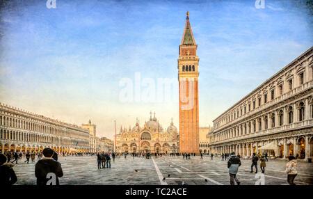 Piazza San Marco, Venedig, Italien. Hochauflösende Panorama. Stockbild
