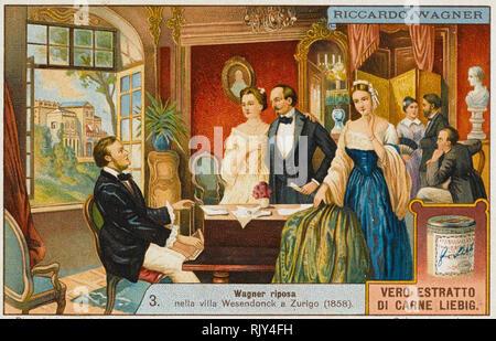 RICHARD WAGNER (1813-1883) Deutsche Oper Komponist gezeigt Begrüßung der Gäste auf einer Karte, die Förderung einer italienischen Rindfleisch über 1910 extrahieren Stockbild