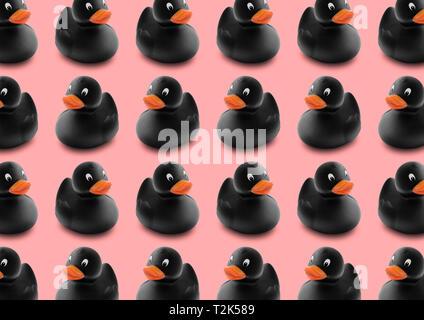 Nahtlose Muster von schwarzem Gummi Enten in isolierten Rosa pastell Hintergrund. Stockbild