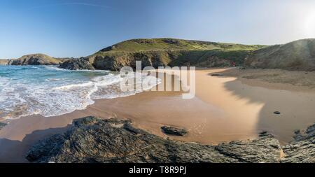 Frankreich, Morbihan, Belle-Ile Insel, Bangor, Baluden Strand Stockbild