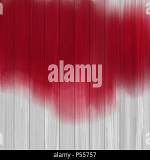 Red paint Splatter auf einer hölzernen Textur Stockbild