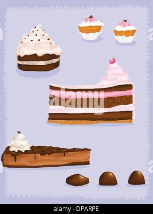 Kuchen, Muffins und Bon bons Stockbild