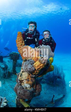 Taucher, die Trümmer des Oro Verde, Grand Cayman Stockbild