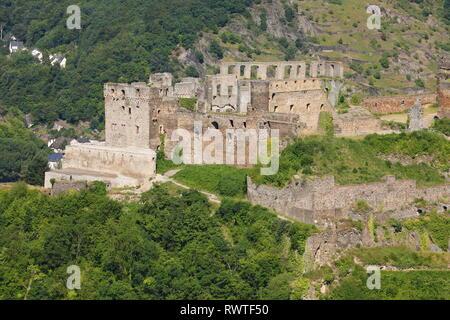 Burg Rheinfels bei St. Goar, UNESCO Weltkulturerbe Oberes Mittelrheintal, Rheinland-Pfalz, Deutschland Stockbild