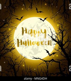 Halloween Grußkarten mit Vollmond, Fledermäuse und Baum. Vector Illustration Stockbild