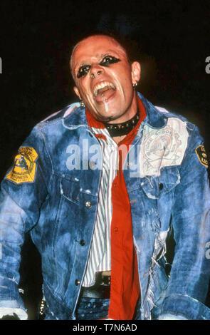 THE PRODIGY UK Rock Gruppe mit Keith Flint am U (& Konzert in Leeds im August 1997. Stockbild