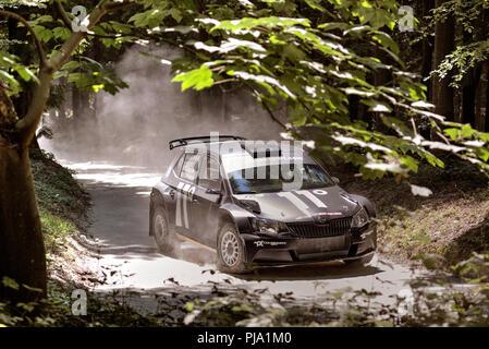 2018 Skoda Fabia R5 Rallye Auto mit Fahrer Chris Ingram auf dem staubigen Wald Bühne am Goodwood Festival 2018 von Geschwindigkeit, Sussex, UK. Stockbild