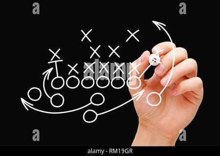 Trainer Zeichnung American Football oder Rugby Spiel Plan, Strategie und Taktik mit weißen Marker auf transparenten Board abwischen. Stockbild