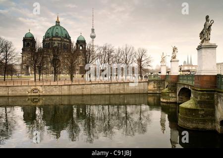 Berliner Dom und Schlossbruecke, Berlin-Mitte, Berlin, Deutschland, Europa Stockbild