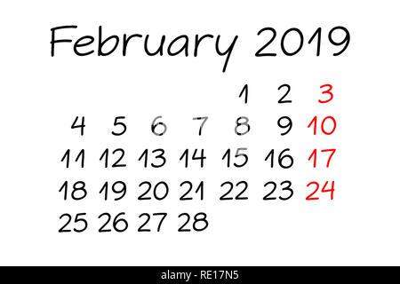 Handschriftliche monatlichen Kalender Februar 2019 mit Marker auf weißem Hintergrund. Stockbild