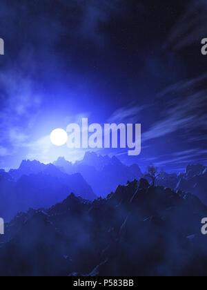 3D-Render einer Berglandschaft mit moonlit Sky Stockbild