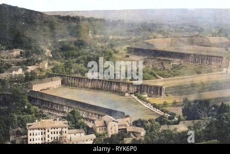 Gradierwerk Bad Sulza, Gebäude in Bad Sulza, 1918, Thüringen, Bad Sulza, Gradierwerke und Kochsalzlösung Stockbild