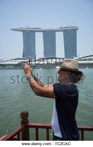 Hotel Marina Bay Sands in Singapur Stockbild