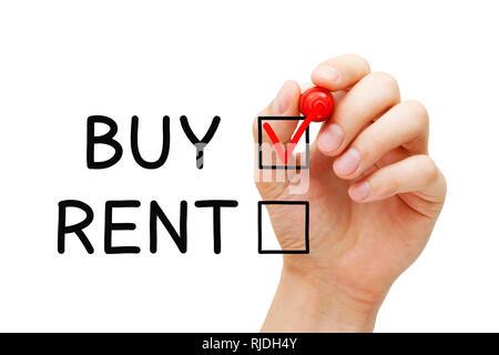 Hand rotes Häkchen auf Kaufen Ausdruck der Wahl zu kaufen keine Immobilien oder andere Immobilie zu mieten. Stockbild