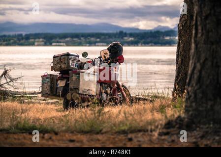 Touring Motorrad von Campbell River, Vancouver, Kanada Stockbild