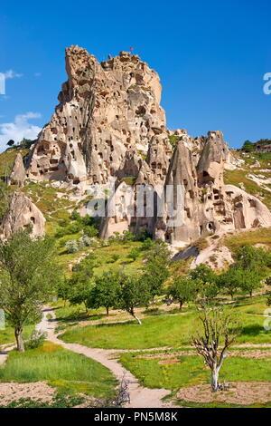 Uchisar, Nationalpark Göreme in Kappadokien, Anatolien, Türkei Stockbild