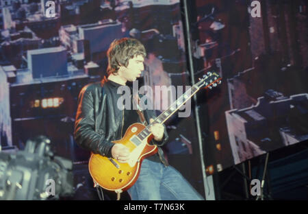 OASIS UK Rock Gruppe mit Noel Gallagher im August 2000 Stockbild