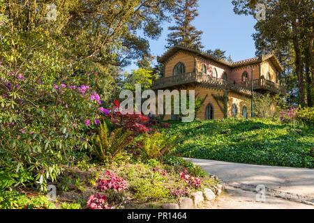 Haus und Garten der Gräfin D'Edla innerhalb der National Park von Pena, Sintra, Portugal, Europa Stockbild