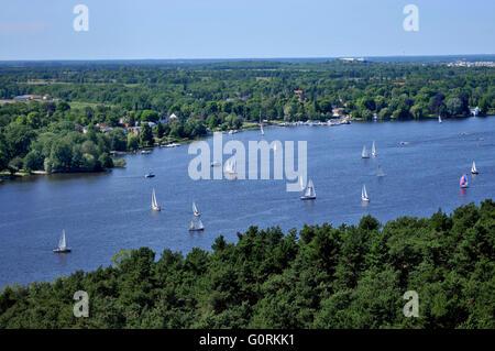 Segelboote, Segelboote, Havel, Wannsee, Gatow, Berlin, Deutschland Stockbild