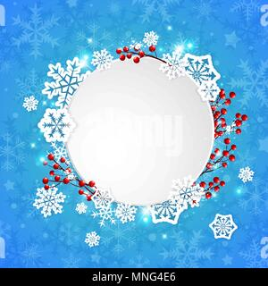 Vektor Weihnachten Banner mit weißem Papier Schneeflocken und roten Beeren auf einem blauen Hintergrund Stockbild