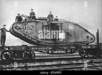 9-1917-11-20 A2 27 E WW1 Transport von Capt Eng tank Weltkrieg 1914-18 1 Frankreich Schlacht von Cambrai 20. 29. Stockbild