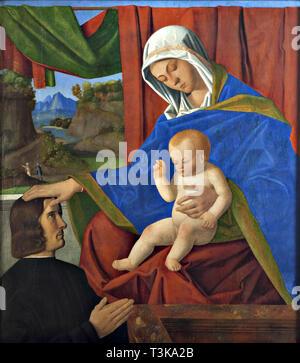 Jungfrau und Kind mit einem Spender, Ende des 15. Cen.. In der Sammlung von Nivaagaards Malerisamling gefunden. Stockbild