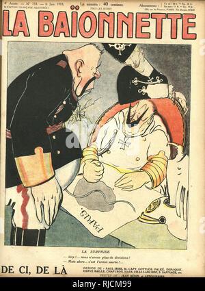 Vordere Abdeckung Design für La Baionnette, die Überraschung. Kaiser Wilhelm ist schockiert zu erfahren, dass es nicht mehr Deutsche Truppen den Einmarsch in Paris zu gewährleisten. Stockbild