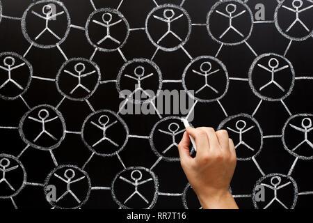 Hand zeichnen Soziales Netzwerk, Gemeinschaft oder Teamarbeit Konzept mit weißer Kreide auf Tafel. Stockbild