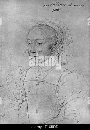 Bildende Kunst, Francois Clouet (1510 - 1572), Zeichnung, Jeanne d'Albret, der Königin von Navarra, Porträt, als Kind, 1540, Additional-Rights - Clearance-Info - Not-Available Stockbild