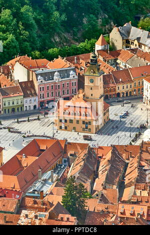 Old Town Square in Kronstadt, Siebenbürgen, Rumänien Stockbild