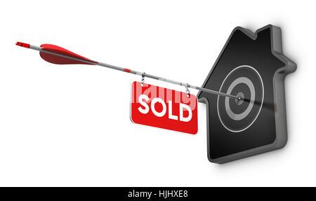 3D Abbildung eines Pfeil und verkauften Schild schlagen die Mitte eines Hause geformten Ziels, Immobilien-Konzept Stockbild