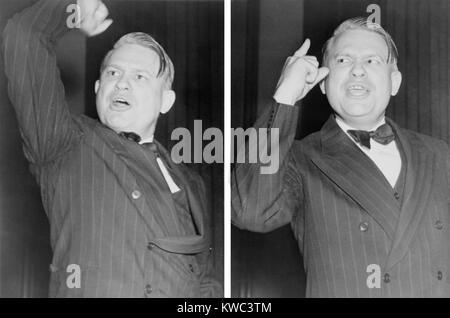 Zwei Ansichten von Martin stirbt, nachdrücklich gestikuliert während einer Rede gegen den Kommunismus. Stockbild