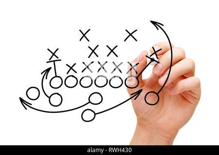 Trainer Zeichnung American Football oder Rugby Spiel playbook, Taktik und Strategie mit schwarzem Marker auf weißem Hintergrund. Stockbild