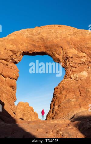 Windows Bögen, Arches National Park, Moab, Utah, Vereinigte Staaten von Amerika, Nordamerika Stockbild