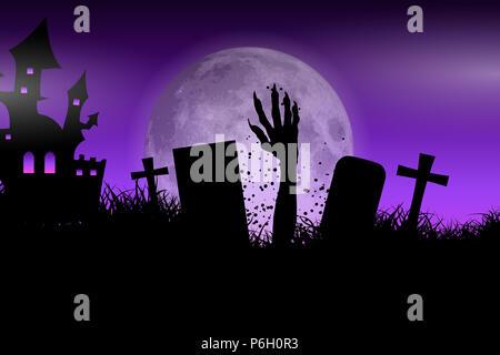 Halloween Hintergrund mit Zombie hand platzt aus dem Boden Stockbild