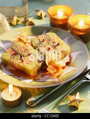 Lauch und Foie Gras Pastete Stockbild