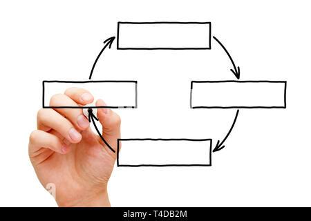 Handzeichnung leer Zyklus Diagramm mit Kopie Raum mit schwarzem Marker auf Transparenten abwischen Board auf Weiß isoliert. Stockbild