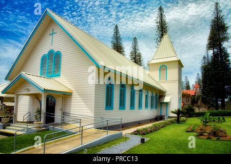 Heiligsten Herzen Jesu & Maria katholische Kirche. Lanai City, Lanai, Hawaii Stockbild
