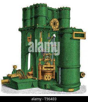 Compound Dampfmaschine mit zwei oder mehr Zylinder, damit der Dampf zu erweitern, beginnend am Eingang Druck- und endet an der Abgasdruck, in zwei oder mehr Stufen. Verbindungen sind von der Anzahl der Stufen von Erweiterungen, die den Dampf unterzogen wird. Am häufigsten ist das Doppelte zusammengesetzte Einfache, bezeichnet man als Compound Dampfmaschine. Diese bestehen nur aus einem Hochdruck- und einem niedrigen Druck Zylinder. Stockbild