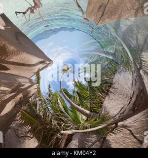 Liegen am Strand von La Digue aus einem winzigen Perspektive Stockbild