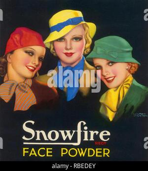 SNOWFIRE GESICHTSPUDER Anzeige durch die amerikanische Kosmetik Firma über 1933 Handel stark auf das Bild gefördert von Ginger Rogers Stockbild