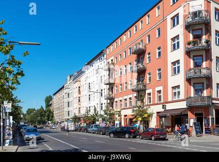 Schlesische Straße im Stadtteil Kreuzberg, Berlin, Deutschland Stockbild