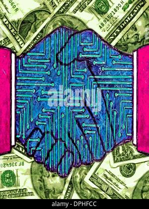 Ein Händedruck mit Geld im Hintergrund Stockbild